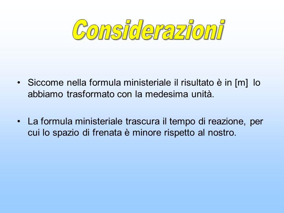 Considerazioni Siccome nella formula ministeriale il risultato è in [m] lo abbiamo trasformato con la medesima unità.